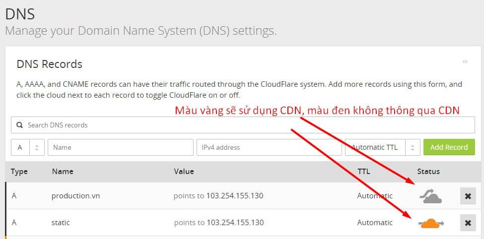 thêm records vào CloudFlare