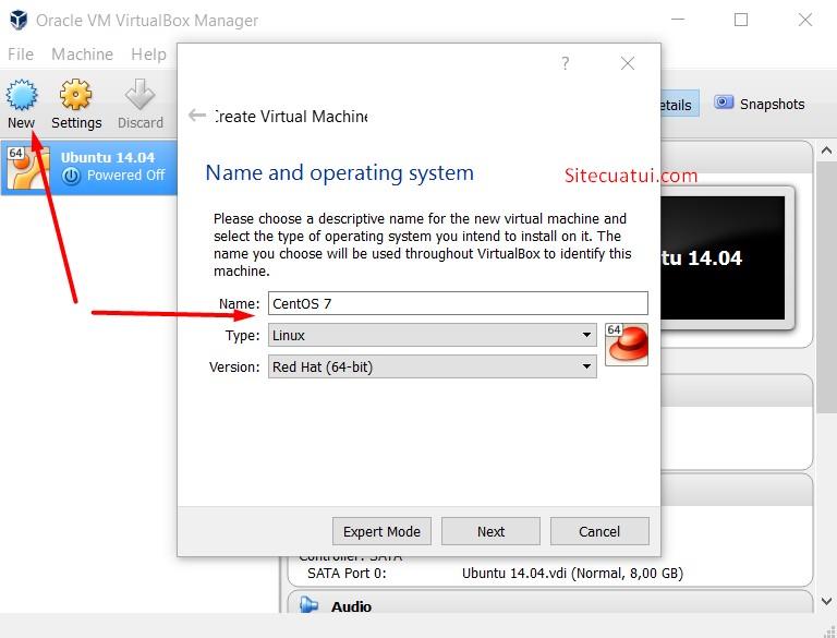 Thêm máy ảo mới vào VirtualBox