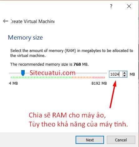 Thiết lập RAM cho máy ảo
