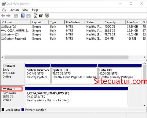 Disk Management USB
