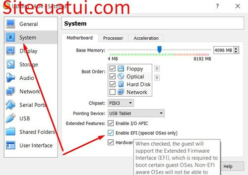 Boot UEFI trong VirtualBox