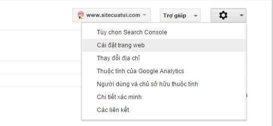 Cài đặt trang web trong Google Search Console