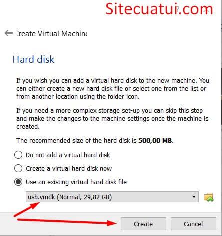 Chọn file ổ đĩa ảo VirtualBox