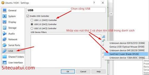 Kết nối USB trong VirtualBox