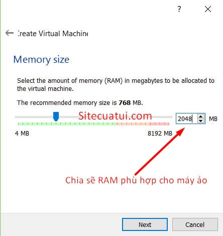 Memory size VirtualBox