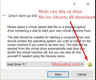 Select start-up disk VirtualBox