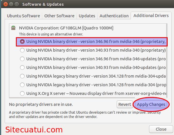 Additional Drivers - Cài đặt driver NVIDIA cho Ubuntu