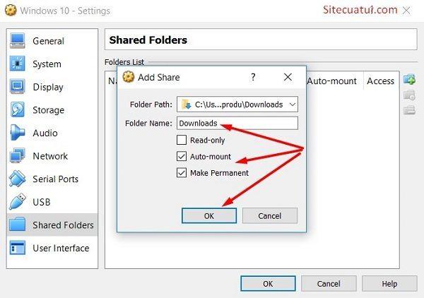 Shared Folders trong VirtualBox