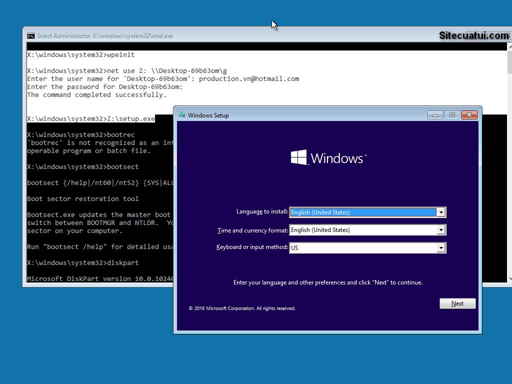 Cài đặt Windows qua mạng LAN
