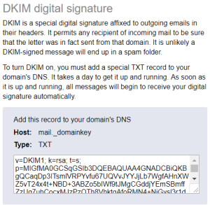 Yandex DKIM digital signature