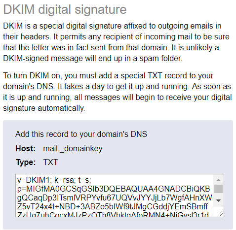 Yandex DKIM digital signature