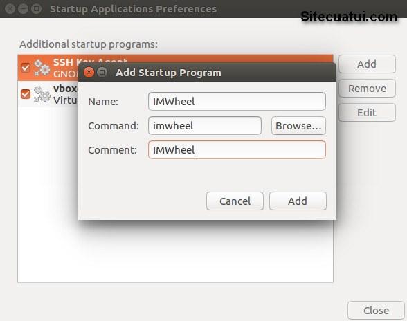 Thêm IMWheel vào Startup Applications trên Ubuntu
