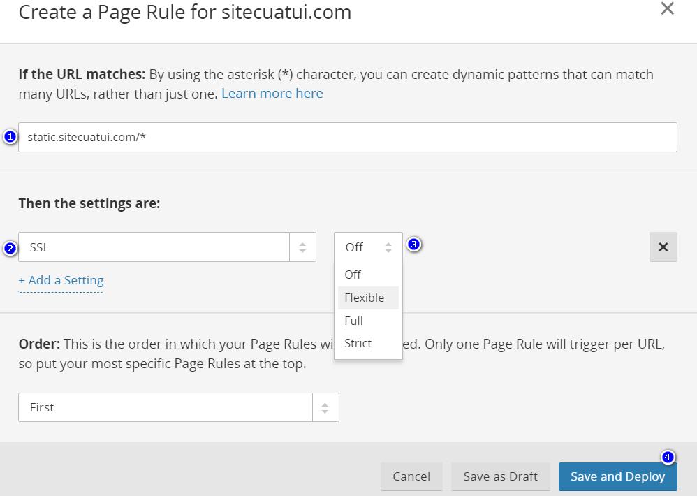 Bật SSL Cloudflare