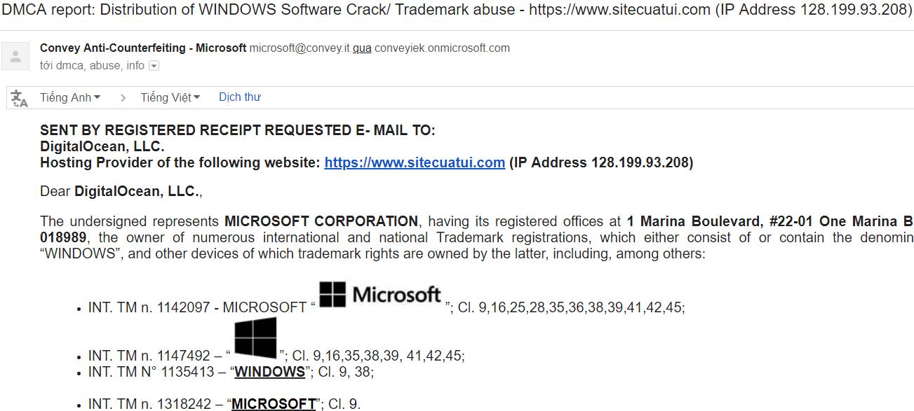 Bạn cũng có thể làm tương tự như cách mà Microsoft đã làm đối với website  của mình, đó là report lên nhà cung cấp hosting của website vi phạm.